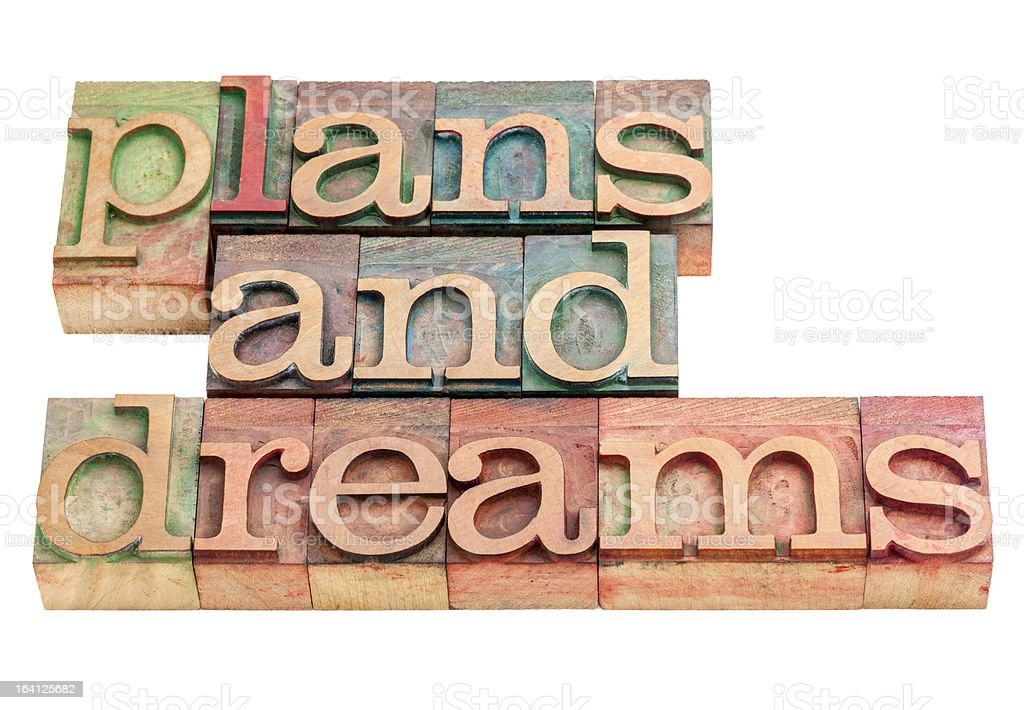 plans and dreams in wood type royalty-free stock photo