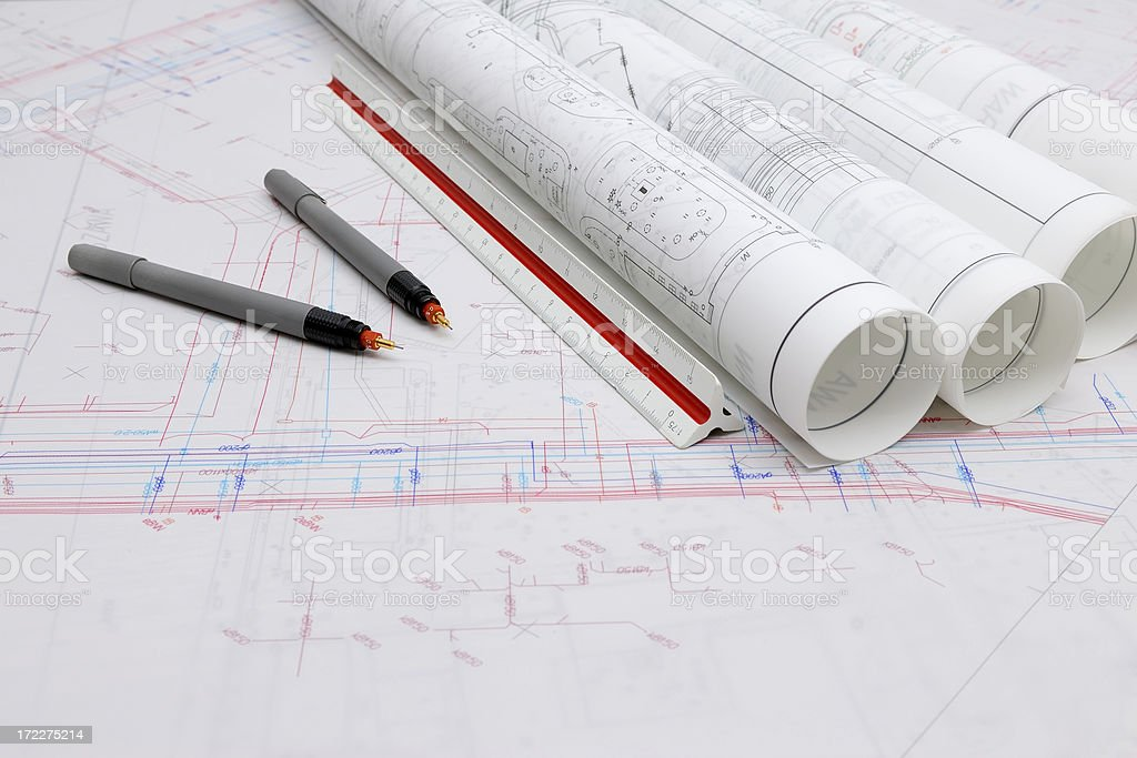 Plans and maps on the table royalty-free stock photo