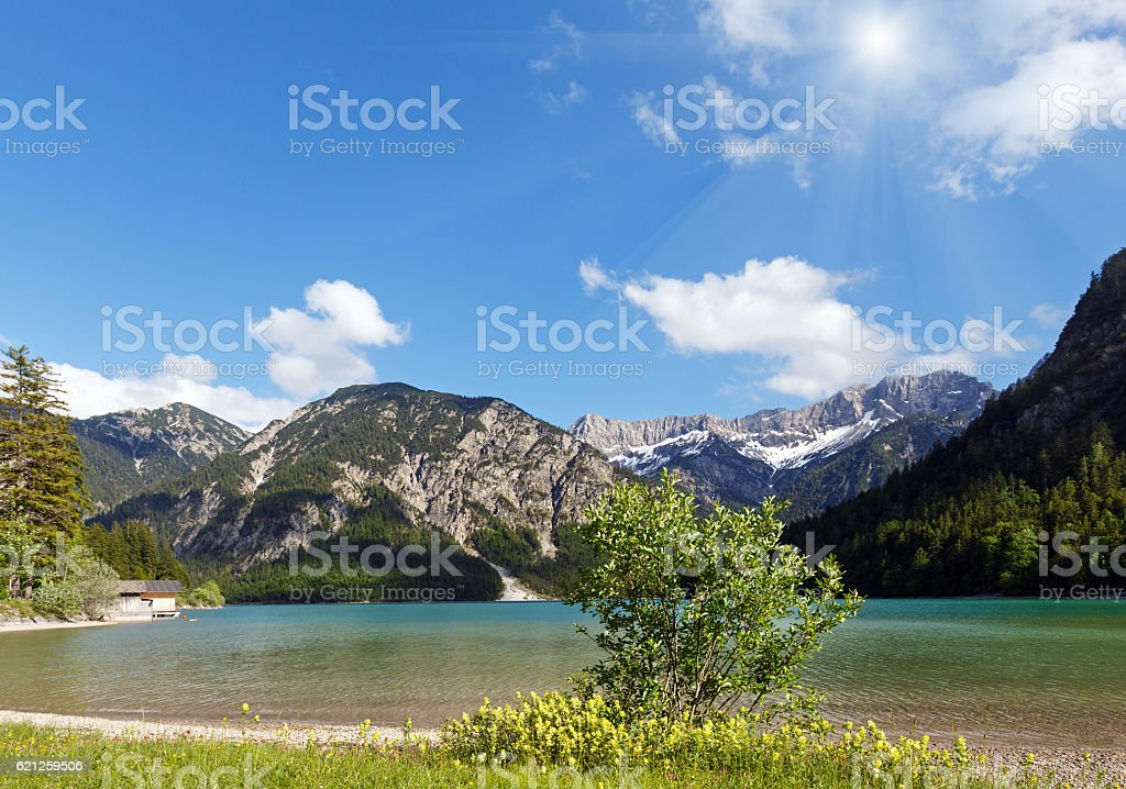 Plansee summer sunshiny landscape stock photo
