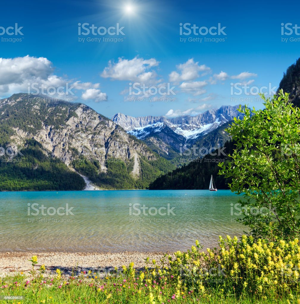 Plansee summer sunshiny landscape (Austria). stock photo