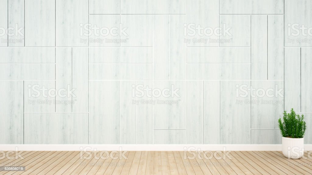 plant and blue wall decoration in empty room for hall or reception artwork- 3D Rendering stock photo