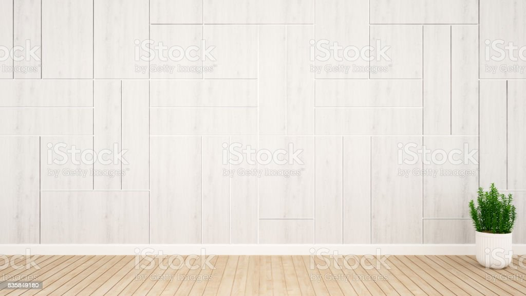 plant and white wall decoration in empty room for hall or reception artwork- 3D Rendering stock photo