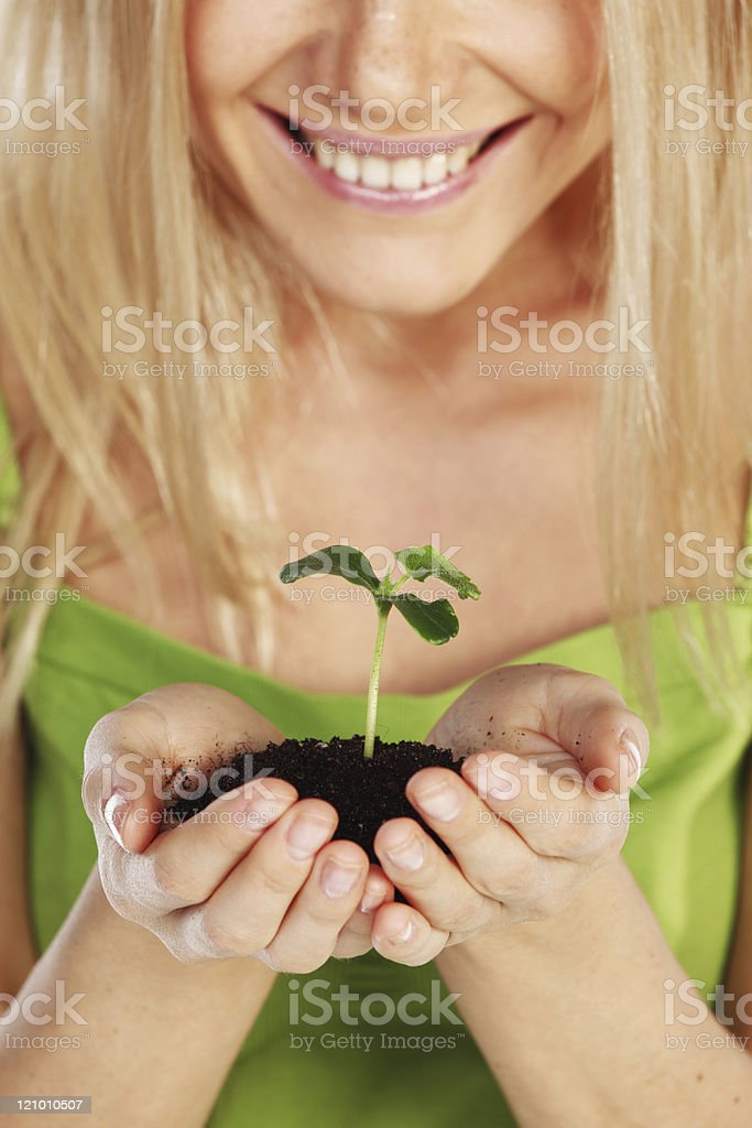 plant in blonde hands royalty-free stock photo