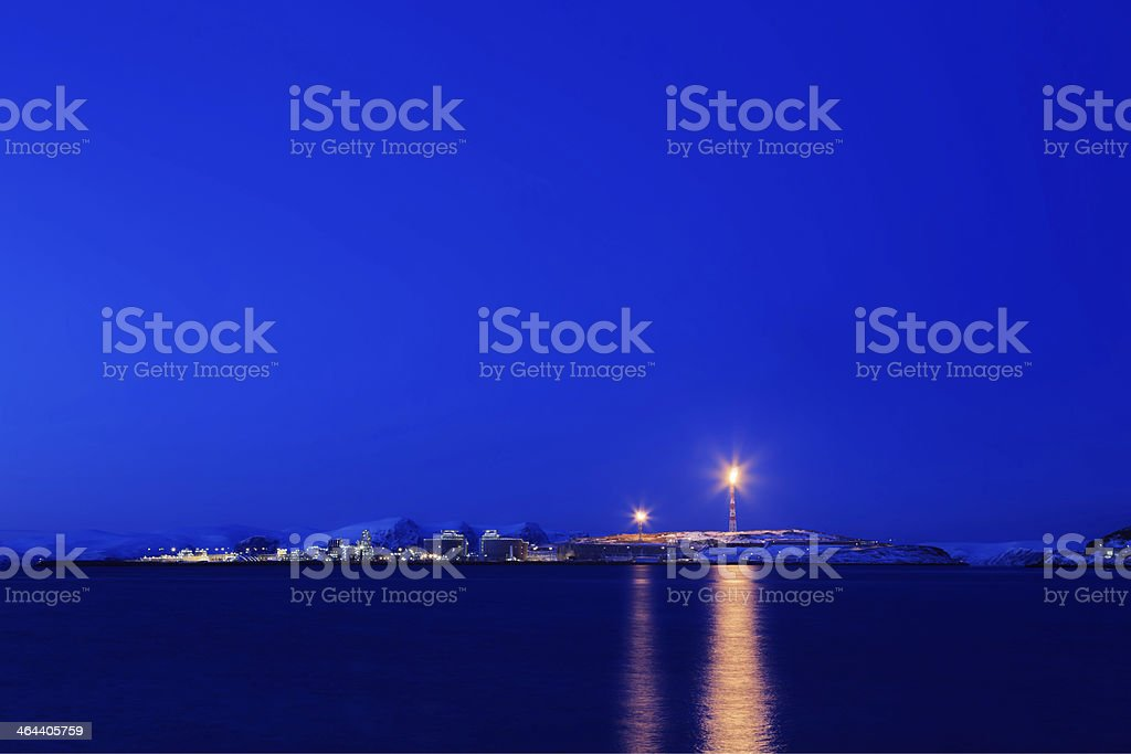 LNG plant in the blue hour. stock photo