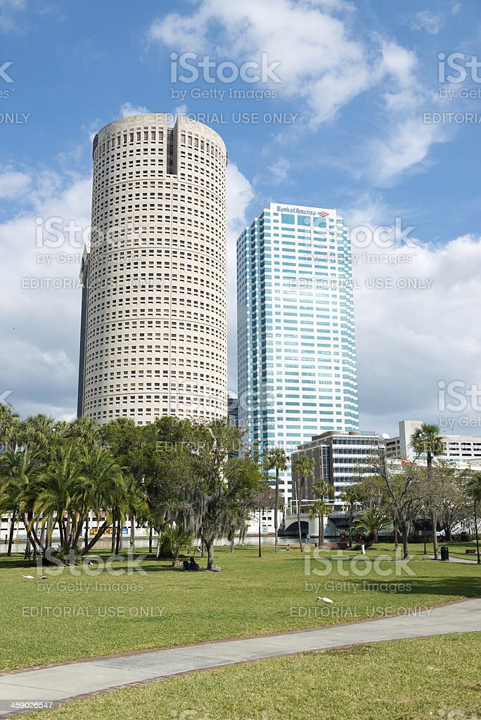 Plant Park with Tampa Buildings royalty-free stock photo