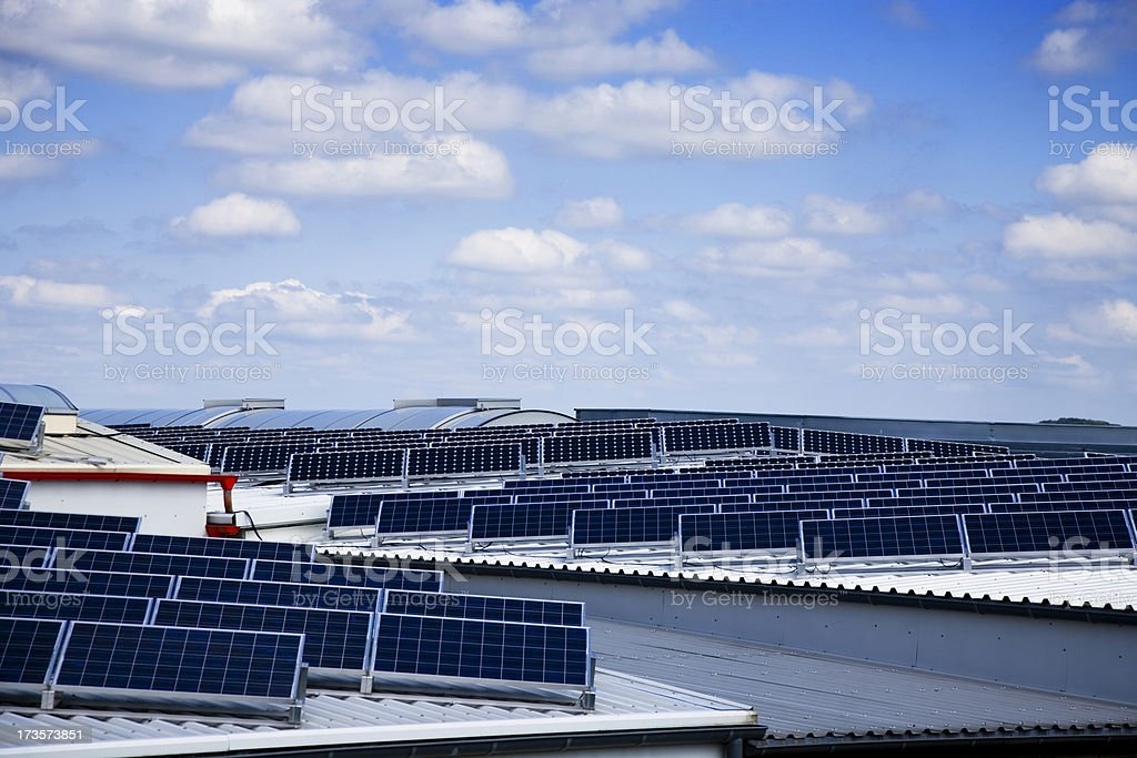 Plant with a Large Number of Solar Panels stock photo