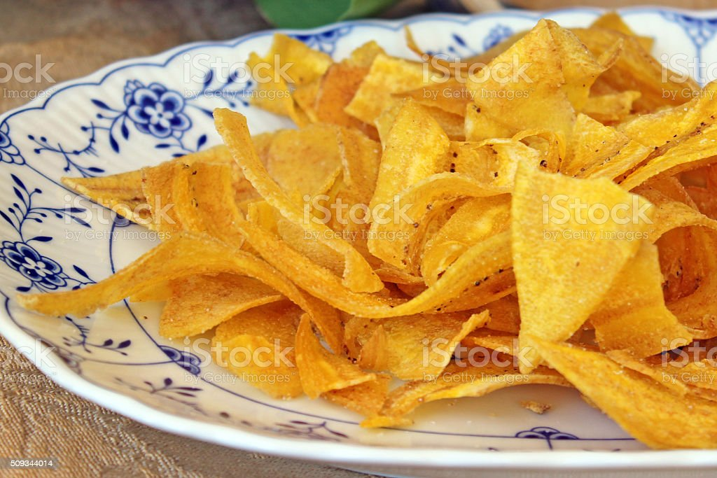 Plantain Chips on a Plate stock photo