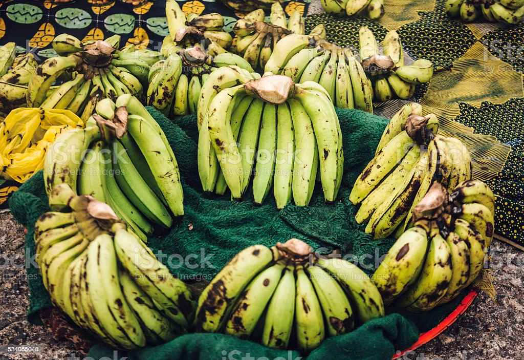 Plantain for sale at African city street market. Lagos, Nigeria. stock photo