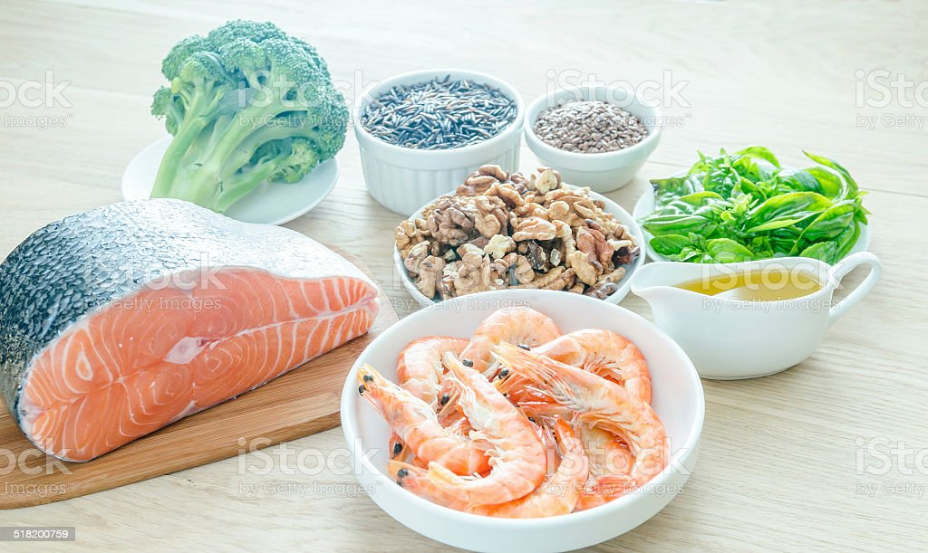 Plant-based and animal sources of Omega-3 acids stock photo