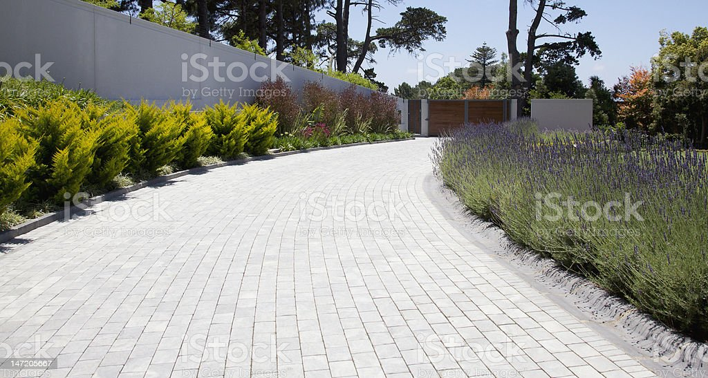 Plants along cobblestone driveway stock photo