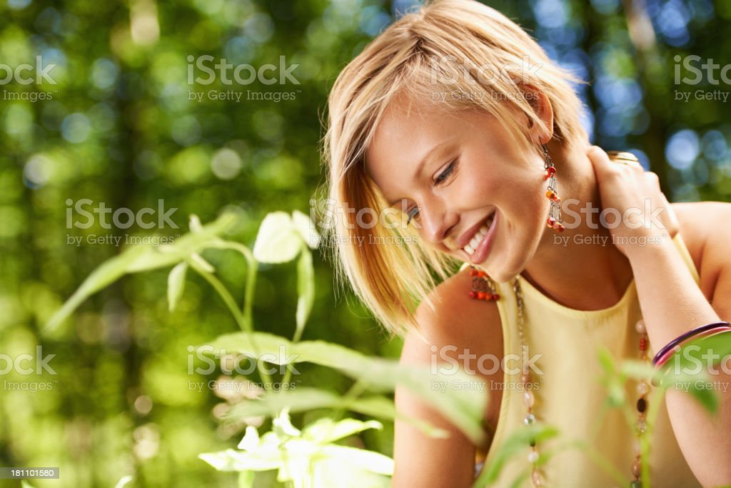 Plants are her hobby royalty-free stock photo