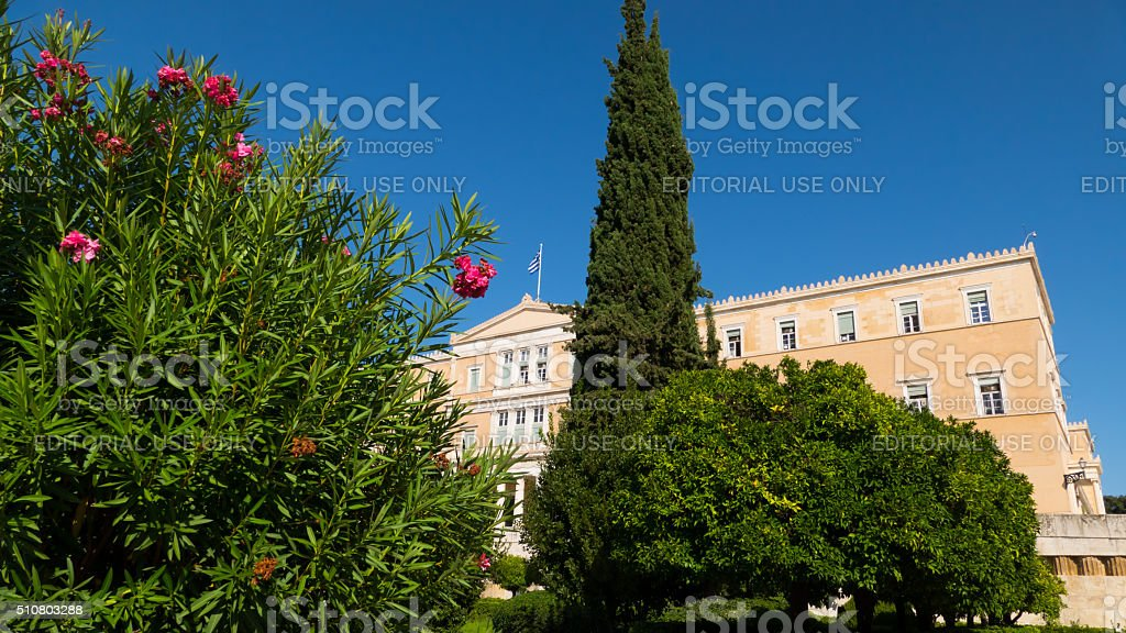 Plants in front of the Old Royal Palace, Athens, Greece stock photo