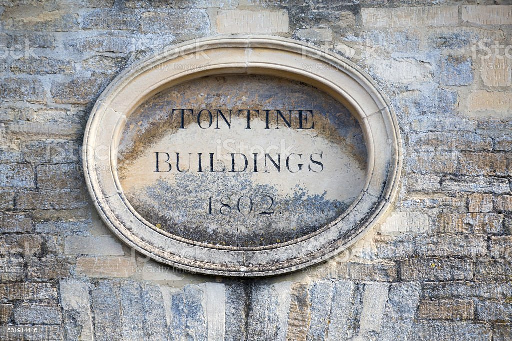 Plaque above a row of Terrace Houses stock photo