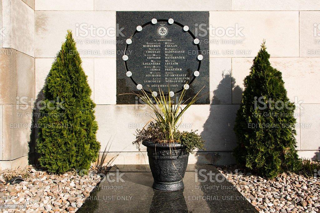 Plaque commemorating victims of the Polytechnique massacre stock photo