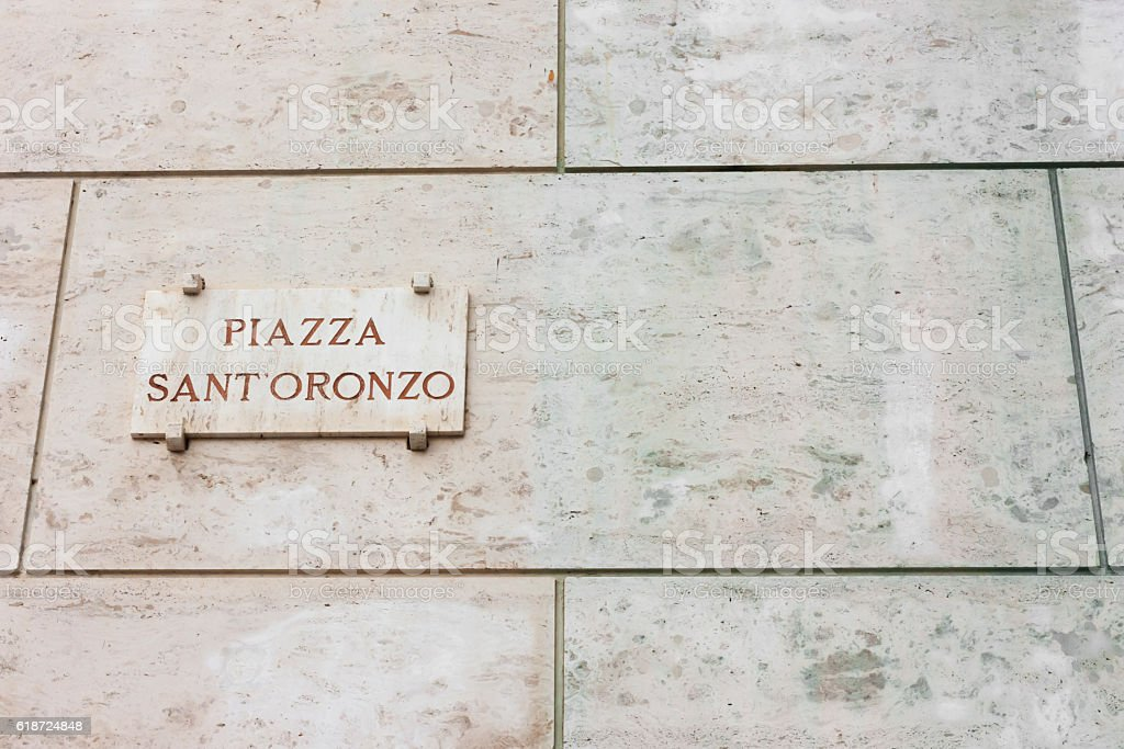 Plaque dedicated to Sant 'Oronzo Square in Lecce stock photo