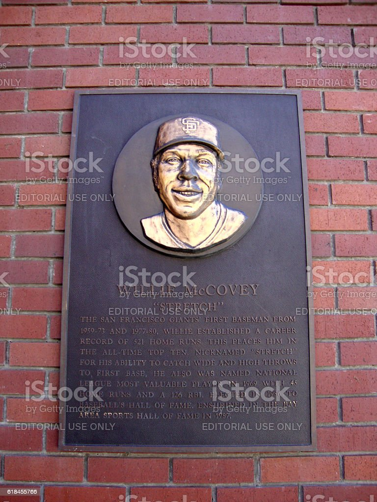 Plaque of baseball legend Willie McCovey on wall stock photo