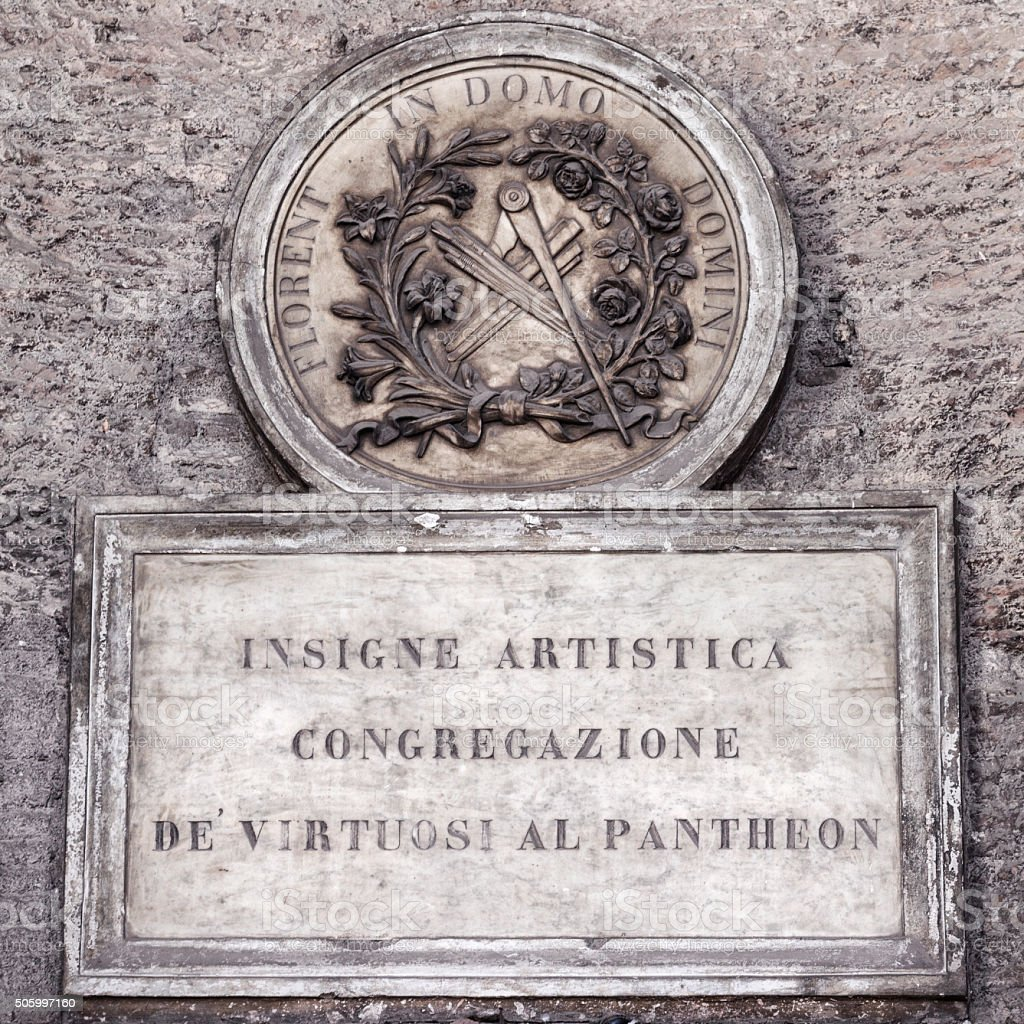 Plaque on Exterior of the Pantheon in Rome, Italy stock photo