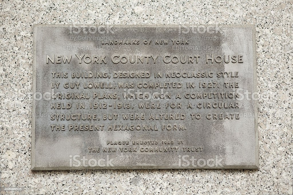 Plaque on New York County Courthouse Manhattan stock photo