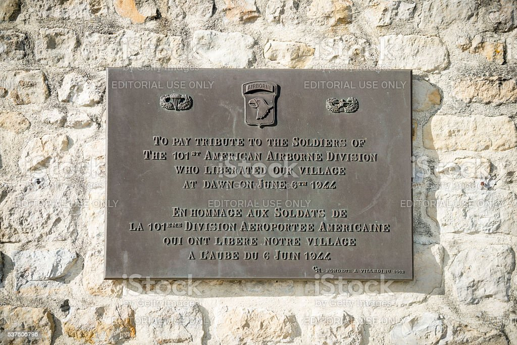 Plaque thanking 101st Airborne Division in Normandy stock photo