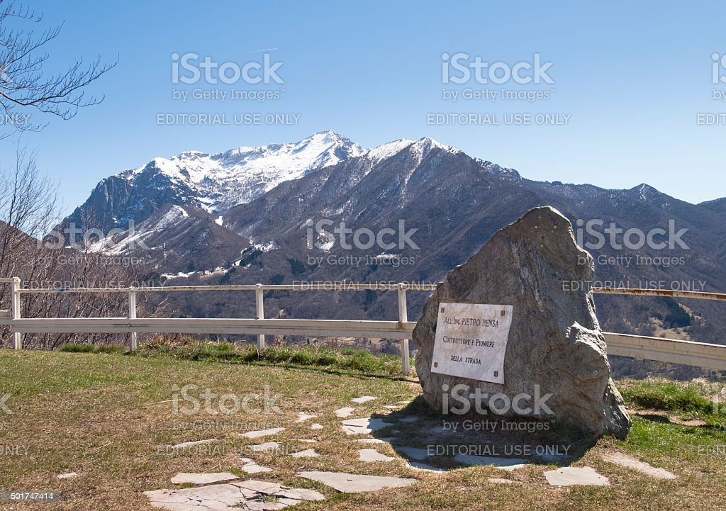 Plaque to the manufacturer and views of Mount Grigna stock photo