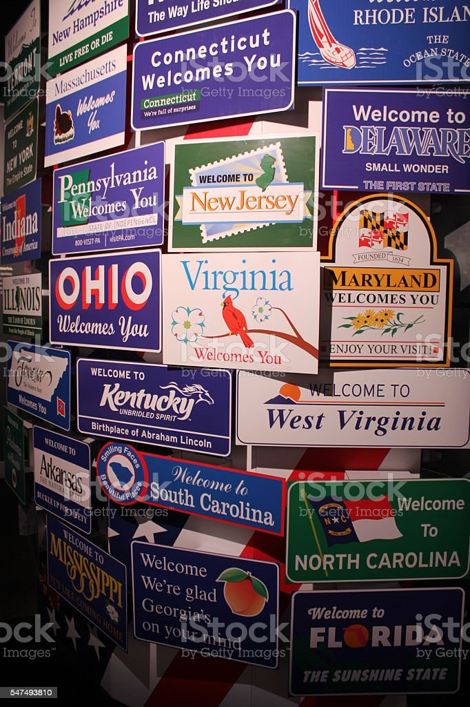 Plaques of American states stock photo