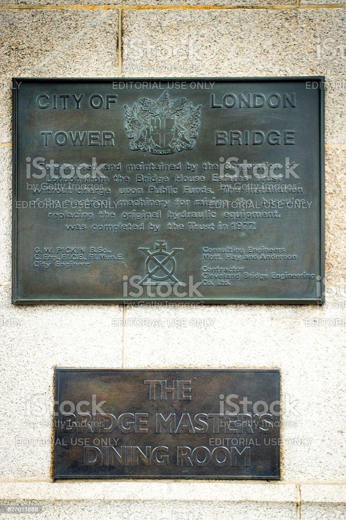 Plaques on Tower Bridge stock photo