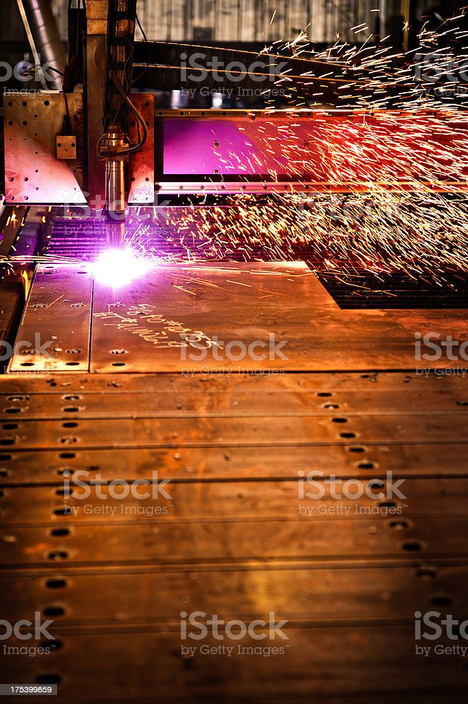 Plasma Cutter with Sparks stock photo