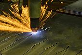 CNC plasma cutting machine during operation.