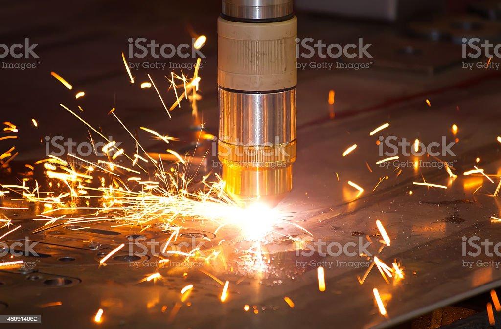 Plasma metal cutting stock photo