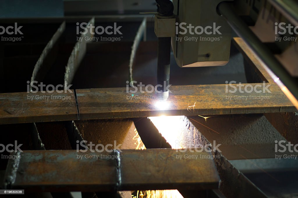 Plasma metal cutting precision industrial cnc machine. stock photo