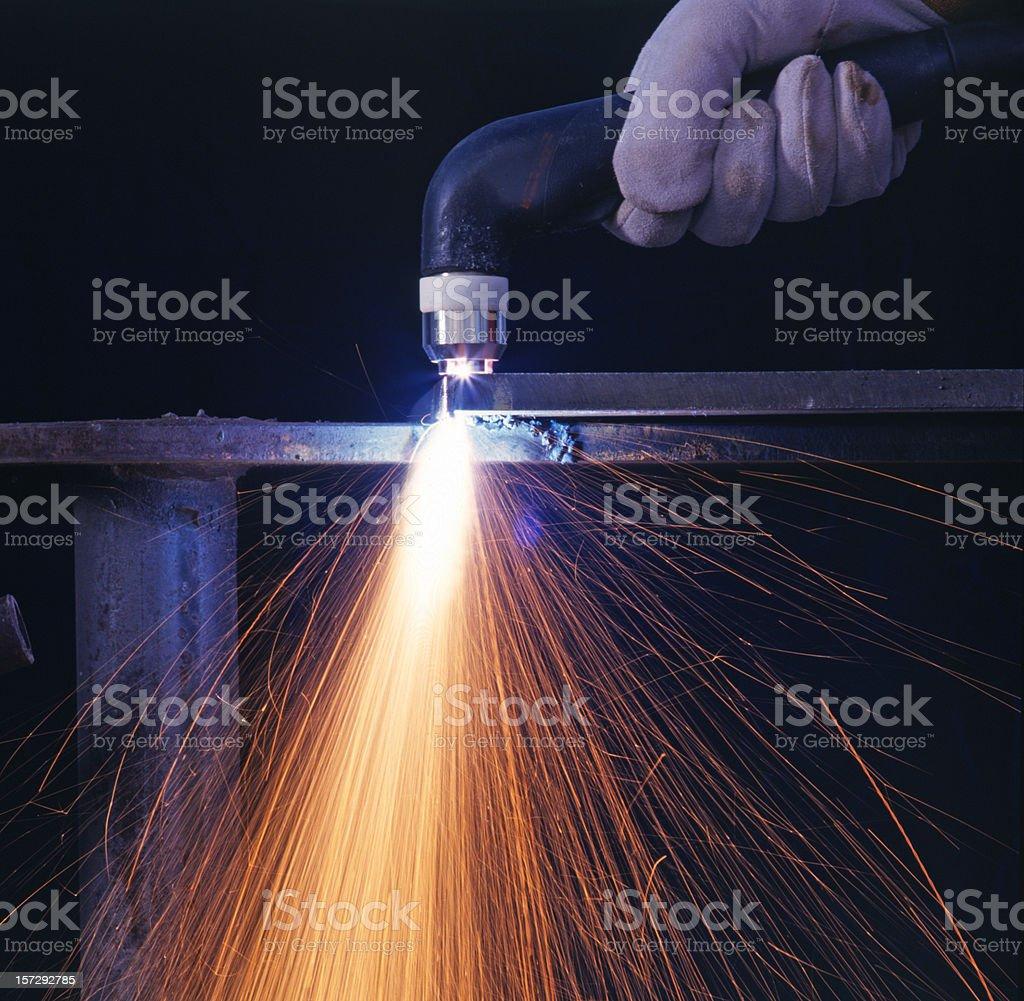Plasma torch closeup stock photo