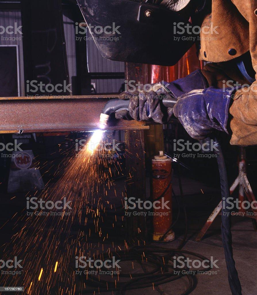 Plasma torch cutting royalty-free stock photo