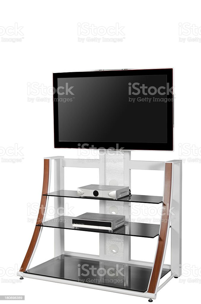 Plasma TV on a stand isolated royalty-free stock photo