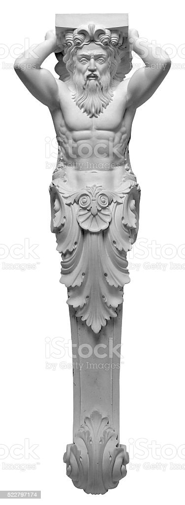 plaster bas-relief Greek characters Atlas on a white background stock photo