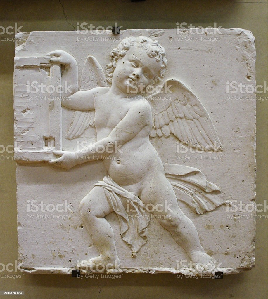 plaster cast of ancient bas-relief stock photo