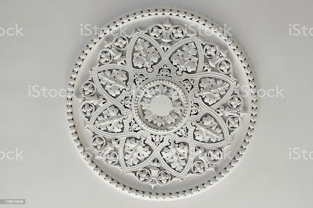 Plaster Ceiling Rose or plate stock photo