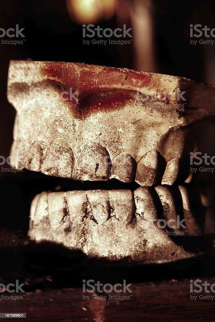 Plaster Dental Teeth - Spooky Antique stock photo