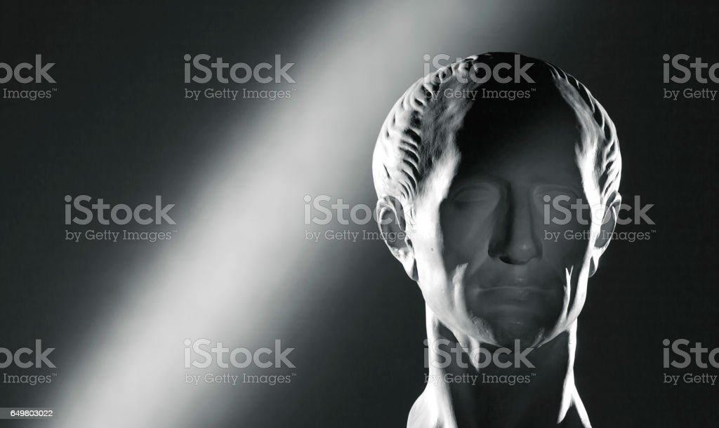Plaster head of Caesar stock photo