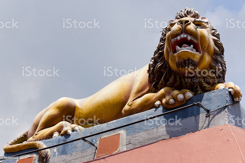 Plaster Lion on Sri Mariamman Temple Singapore royalty-free stock photo