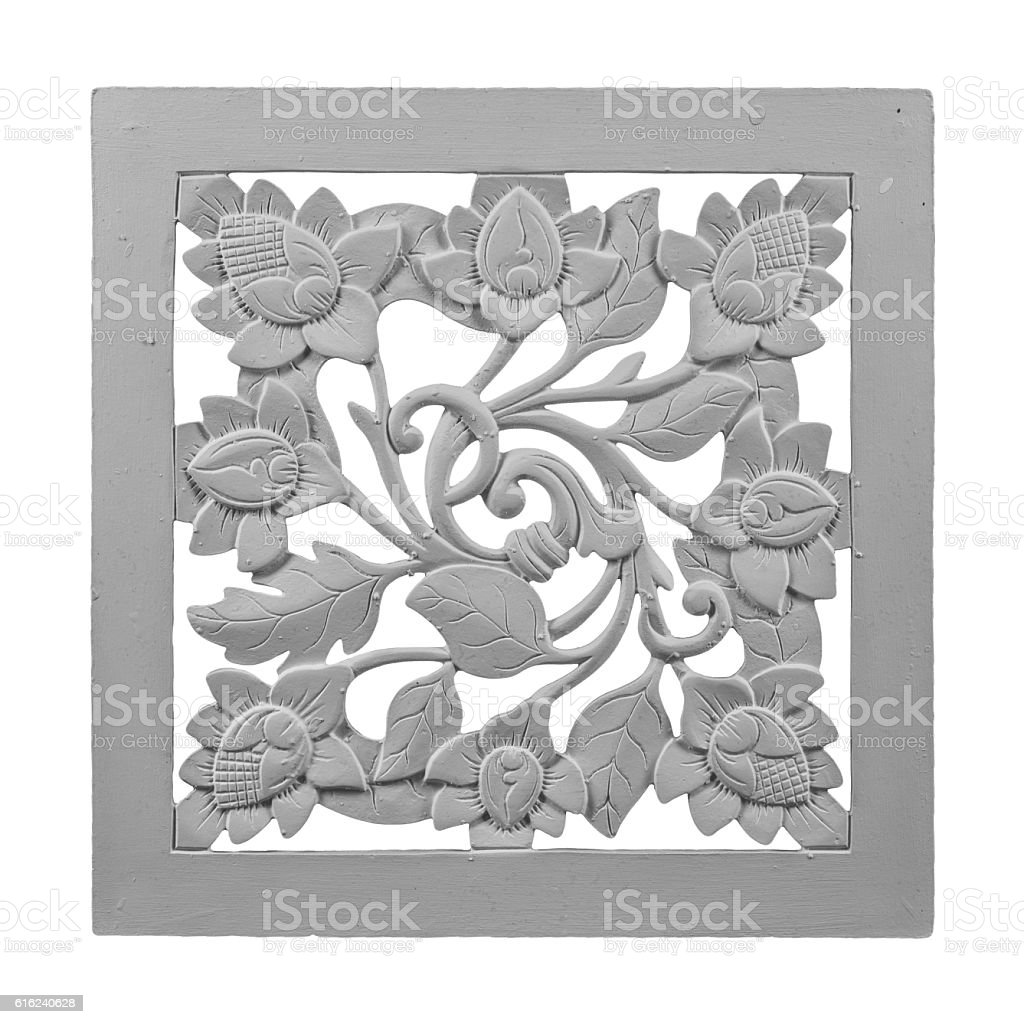 plaster painting, vase, sculpture, floral patterns on an isolated background stock photo