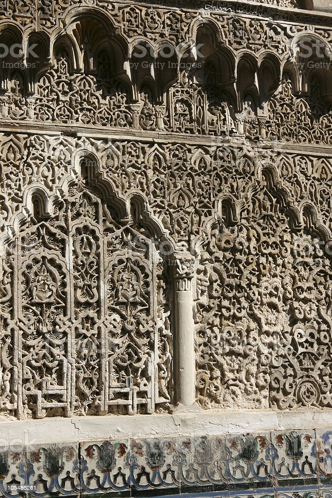 Plaster work in Mudejar style - Seville Alcazar royalty-free stock photo