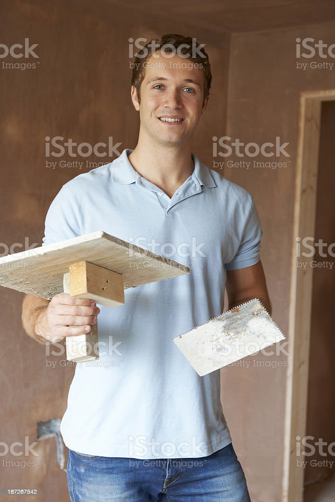 Plaster Working In Finished Room royalty-free stock photo