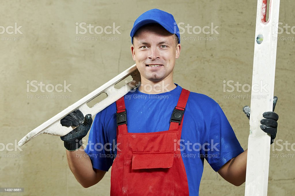Plasterer at work royalty-free stock photo