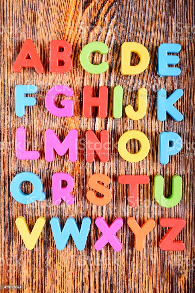 Plastic alphabet letters stock photo