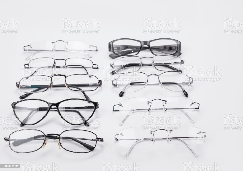 Plastic and metal dioptrical farmes for men and women stock photo