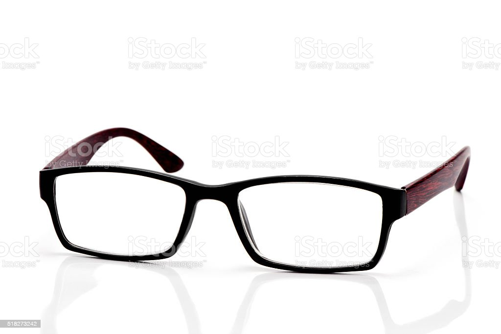 plastic and wooden rimmed eyeglasses stock photo