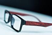 plastic and wooden rimmed eyeglasses