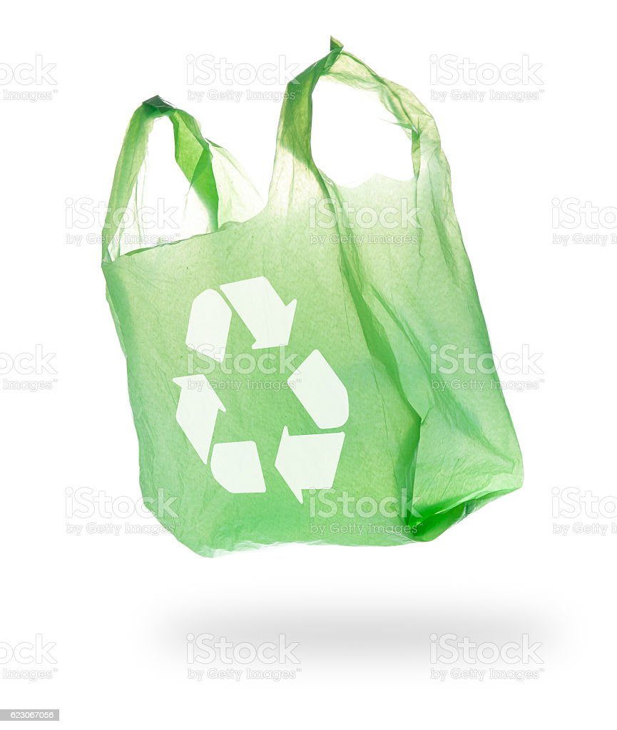 Plastic Bag and recycle symbol on White Background stock photo
