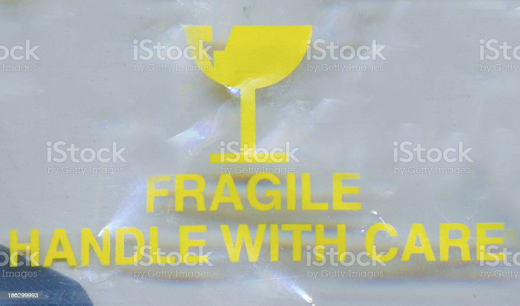 Plastic bag fragile sign royalty-free stock photo