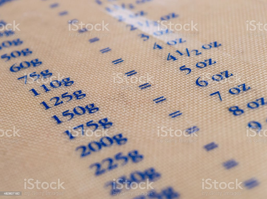 Plastic Baking Sheet with Conversions of Weight/Grams to Ounces royalty-free stock photo
